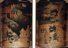 Case (Inrô) with Design of Fox's Wedding Procession in Hilly Landscape with Temple and Moon  Date: 18th–19th century Culture: Japan Medium: Lacquer, roiro, mura nashiji, gold and coloured hiramakie, takamakie; Interior: nashiji and fundame