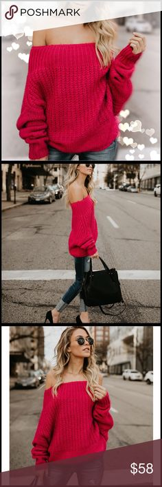 """Fierce Fuchsia Sweater So incredibly soft - this sweater is a dream! This Off The Shoulder Sweater is a dolman style sweater that's worn off the shoulder! It is a great silhouette and this sweater is super soft in in its vibrant hue of hot pink. Model is 5'7"""" and wearing a size small/medium. Boutique Sweaters"""