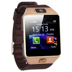 This is a Android and IOS Smart Watch 14K rose Gold Tone Base. Stainless Steel Back casing. Attached to the watch is a Brown Silicone Band Stock: V01L-4906 SKU: 291745316820 Make: Master Of Bling Dime