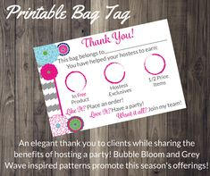 Thirty One Consultant Bag Tag Thank you/You have helped your hostess earn-Grey Wave Bubble Bloom $5.00 https://www.etsy.com/listing/217958685/thirty-one-consultant-bag-tag-you-have?