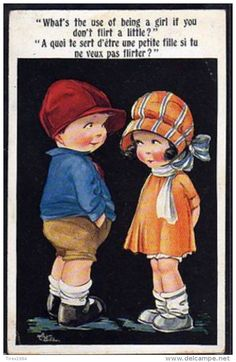 ~DZ066 A/s ARTHUR BUTCHER COUPLE D'ENFANTS FLIRT INTER ART~