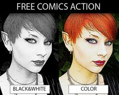 The comics action turns any JPG image, photo, layer into a comic book illustration.