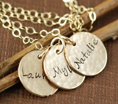 Hand Stamped Mommy Necklace, Personalized Gold Necklace - Name Jewelry - Hand Stamped Keepsake