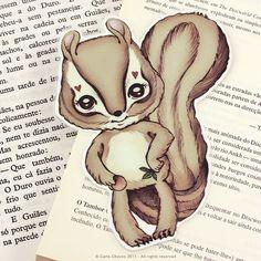Chipmunk pocket size bookmark di ribonitachocolat su Etsy, $2.00