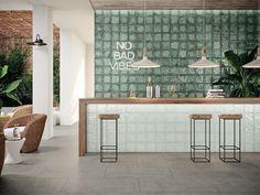Ceramic Tiles – Glass Collection from Aparici Cafe Interior Design, Cafe Design, Küchen Design, Deco Restaurant, Restaurant Design, Commercial Design, Commercial Interiors, Shop Interiors, Office Interiors