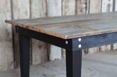 Shou-sugi-ban desk - legs & apron - Materia Designs Blog. An interesting set of photos showing how this originally Japanese art of protecting wood for outside building purposes is now becoming a favorite for other uses as well. I really like this table with its charred legs & recycled barn wood top. The silver headed bolts give it a modern note. I'd oil the table top though to bring out the grain more. I really must try this technique soon ;)