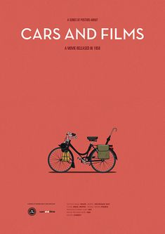 Poster of the bike from Mon Oncle. Illustration Jesús Prudencio. Cars And Films #cars #carsandfilms #movieposter #jesusprudencio #jacquestati #print #poster #etsy