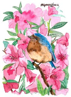 ACEO Limited Edition 8/25- Azalea, Bluebird Art print of an original watercolor painting by Anna Lee,Collectible art, Mother's day Gift idea