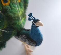 Needle Felted Animal Peacock by LivelyFelt on Etsy