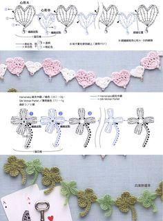2. 플라워모티브 체인뜨기 : 네이버 블로그 Crochet Boarders, Crochet Motif Patterns, Crochet Diagram, Crochet Cord, Crochet Bracelet, Crochet Lace, Crochet Garland, Crochet Bookmarks, Crochet Accessories