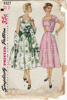 1950s Dress Pattern Simplicity 4327  Square by MiAbDryGoods Stili Di Cucito  Vintage d04b35106b4