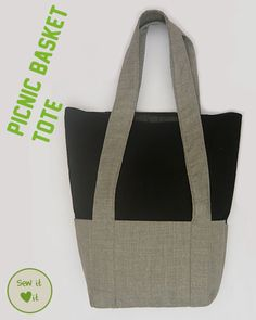 Pretty And Practical Tote Bag Tutorial:   Has two large pockets and long handles. The top can be folded when you have few things to carry. Unfold it when you need more space.