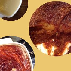 image of malva pudding in various stages of preparation
