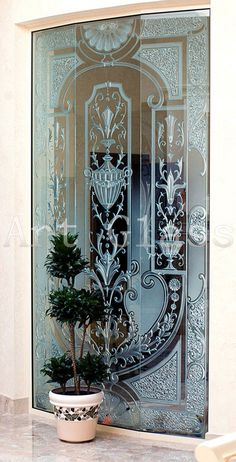 Glass Partition Designs, Living Room Partition Design, Glass Art Design, Etched Glass Windows, Glass Door, Drilling Glass, Sliding Glass Barn Doors, Antique French Furniture, Wood Carving Designs