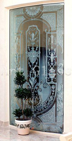 Glass Painting, Glass Art, Glass Partition Designs, Glass Decor, Sliding Glass Barn Doors, Door Glass Design, Sandblasted Glass Art, Glass Design, Glass Engraving