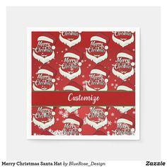 Merry Christmas Santa Hat Napkins Holiday Cards, Christmas Cards, Merry Christmas Santa, Christmas Napkins, Ecru Color, Cocktail Napkins, Santa Hat, Paper Napkins, Holiday Treats