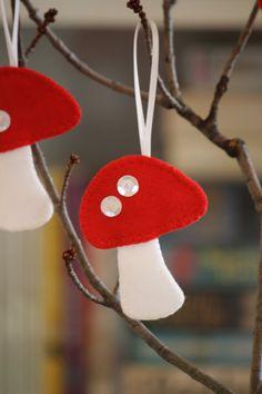 Felt Mushroom Ornaments