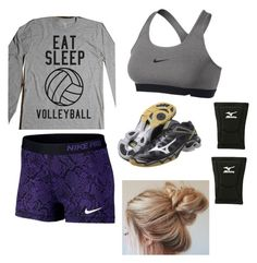 """Volleyball Practice"" by abbmar ❤ liked on Polyvore featuring NIKE and Mizuno"