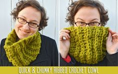 quick and chunky ribbed crochet cowl--love the stitch pattern