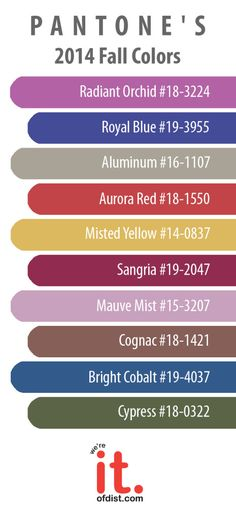 Pantone's 2014 Fall Colors! #design #color