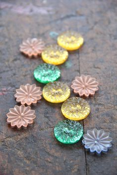 vintage glass buttons etched flower by scrapology on Etsy,