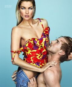 Models Jessica Hart and RJ King are flashed by Alexi Hay in 'Fierce Denim', the May 2017 cover story for Harper's Bazaar Mexico and Latin America./  Hair by Robert Mefford; Justine Purdue http://www.anneofcarversville.com/style-photos/2017/5/8/jesica-hart-rj-king-front-fierce-denim-by-alexei-hay-for-harpers-bazaar-mexico-may-2017