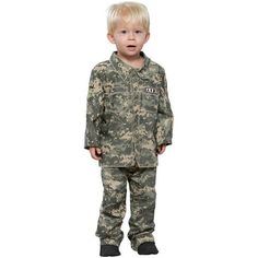 Our toddler little soldier costume is perfect for any little boy this year. Make him look picture perfect with this fun toddler US army boy outfit. Camouflage s