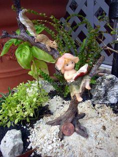 Miniature Fairy Garden Sprite Reading Book with Squirrel 4425 Gnome Garden | eBay