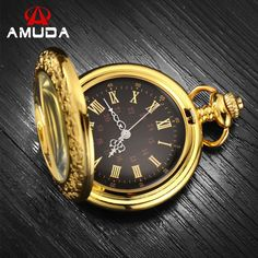 Roman Numerals Gold Pocket Watch Antique Steampunk Pocket Watches Unisex Luxury Brand Necklace Pendant Watch With Chain - Online Shopping for Watches