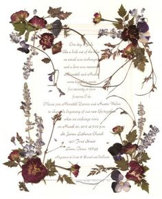O.k. this didn't exist as an invitation, I just found it around on the internet but I LOVE IT. Picture a full suite of these, letterpress and victorian pressed flowers.  *sigh*
