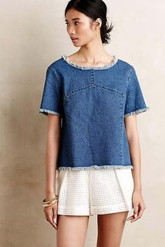 Frayed Denim Top by Maeve #anthrofave