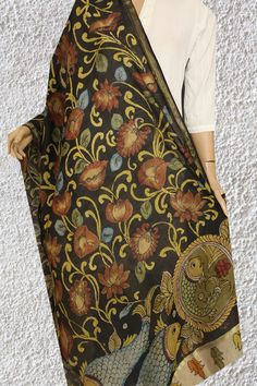 Bright and cheerful hand painted floral hues in silk cotton drapes - painting your days in the colours of Joy - Check out the new collection of Kalamkari Dupattas in Chanderi. Sabyasachi Sarees, Kalamkari Painting, Indian Attire, Paint Designs, Fabric Painting, Alexander Mcqueen Scarf, Joy, Hand Painted, Colours