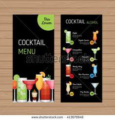 Cocktail menu design. Alcohol drinks leaflet and flyer layout template. Bar menu brochure with modern graphic. Vector illustration.