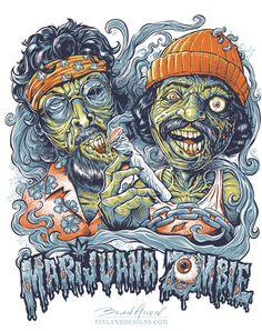 Cheech and Chong Zombies T-Shirt Illustration by Brian Allen, via Behance