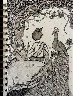 Doodle Art Drawing, Cool Art Drawings, Abstract Pencil Drawings, Kalamkari Painting, Pen Doodles, African Art Paintings, Mandala Art Lesson, Doodle Art Designs, Madhubani Art