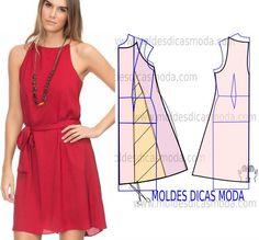 Analise de forma detalhada o desenho do molde do vestido vermelho. Vestido simples e arrojado que veste de forma muito elegante.