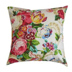 Bring a pop of garden-chic style to your sofa or favorite reading arm chair, with this lovely cotton pillow, featuring a multicolor floral motif and down-fea...
