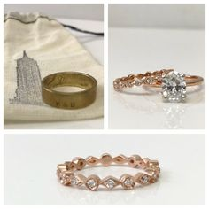 His and hers. 💗💗 LOVE his. An eclectic brass ring bought on the streets of NYC. Her amazing rose gold band looks stunning with her classic oval.