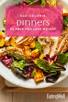 These delicious meals will keep you full throughout the evening, kicking late-night snack attacks to the curb so you can meet your weight-loss goals. 500 Calorie Dinners, Dinners Under 500 Calories, 100 Calories, Calorie Diet, Hcg Recipes, Healthy Recipes, Healthy Meals, Healthy Food, Clean Eating