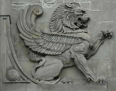 Gryphon or Griffin . a mythical creature signifying powerful intentions. Ancient Persia, Ancient Art, Stone Carving, Wood Carving, Wall Sculptures, Sculpture Art, Turm Von Babylon, Sphinx, Fu Dog