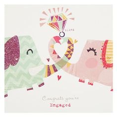 Buy Card Mix Two Elephants with Big Ring Engagement Card Online at johnlewis.com