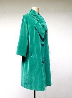 1950s Emerald Velvet Formal Swing Coat
