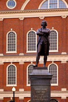 Statue of Samuel Adams in front of Faneuil Hall, Boston, Massachusetts.