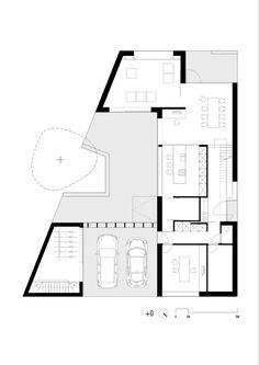 Single Storey House Plans, Narrow House Plans, Garage House Plans, Modern House Plans, Resort Plan, Triangle House, Architectural Floor Plans, Villa Plan, Bungalow House Design