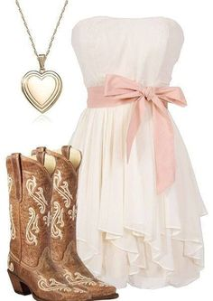 Dress ideas for Tiffany's wedding. I like the dress and boots maybe the dress in a diff color. don't really like the necklace tho - retro dresses, cute pink dresses, flower dresses for women *ad