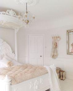 French inspired white shabby bedroom