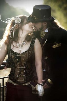 Steampunk kiss.. @Quetura Barnett we should so do a steampunk photoshoot for an anniversary or something