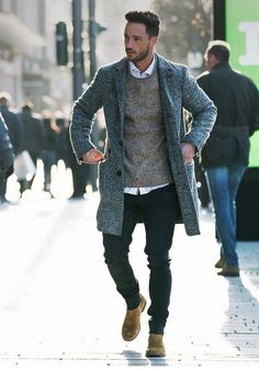 Men's Summer Look. Overcoat + Merino Wool Sweaters + Jeans + Cheslsea boots. SHOP THE LOOK