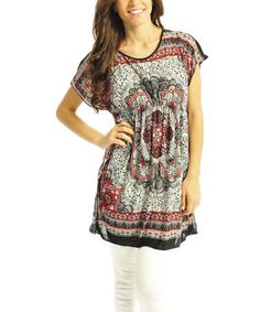Red Dynasty Cape-Sleeve Tunic