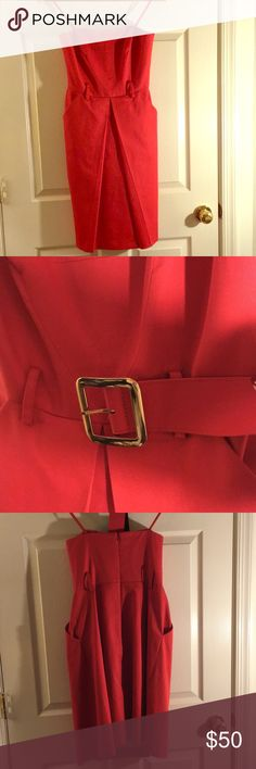 Milly red strapless dress with belt Red strapless Milly dress with belt. Built in bra and light boning. Pockets in front. Milly Dresses Strapless